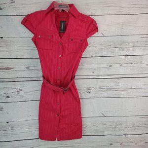 NWT Express pink button down collared dress sz 0